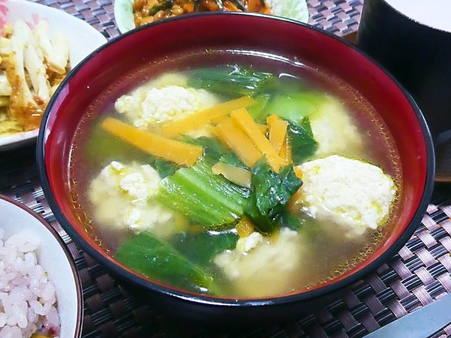 鶏団子とチンゲン菜の中華スープ