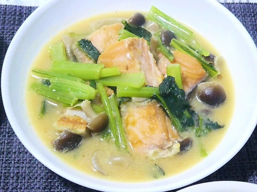 鮭と小松菜の味噌煮