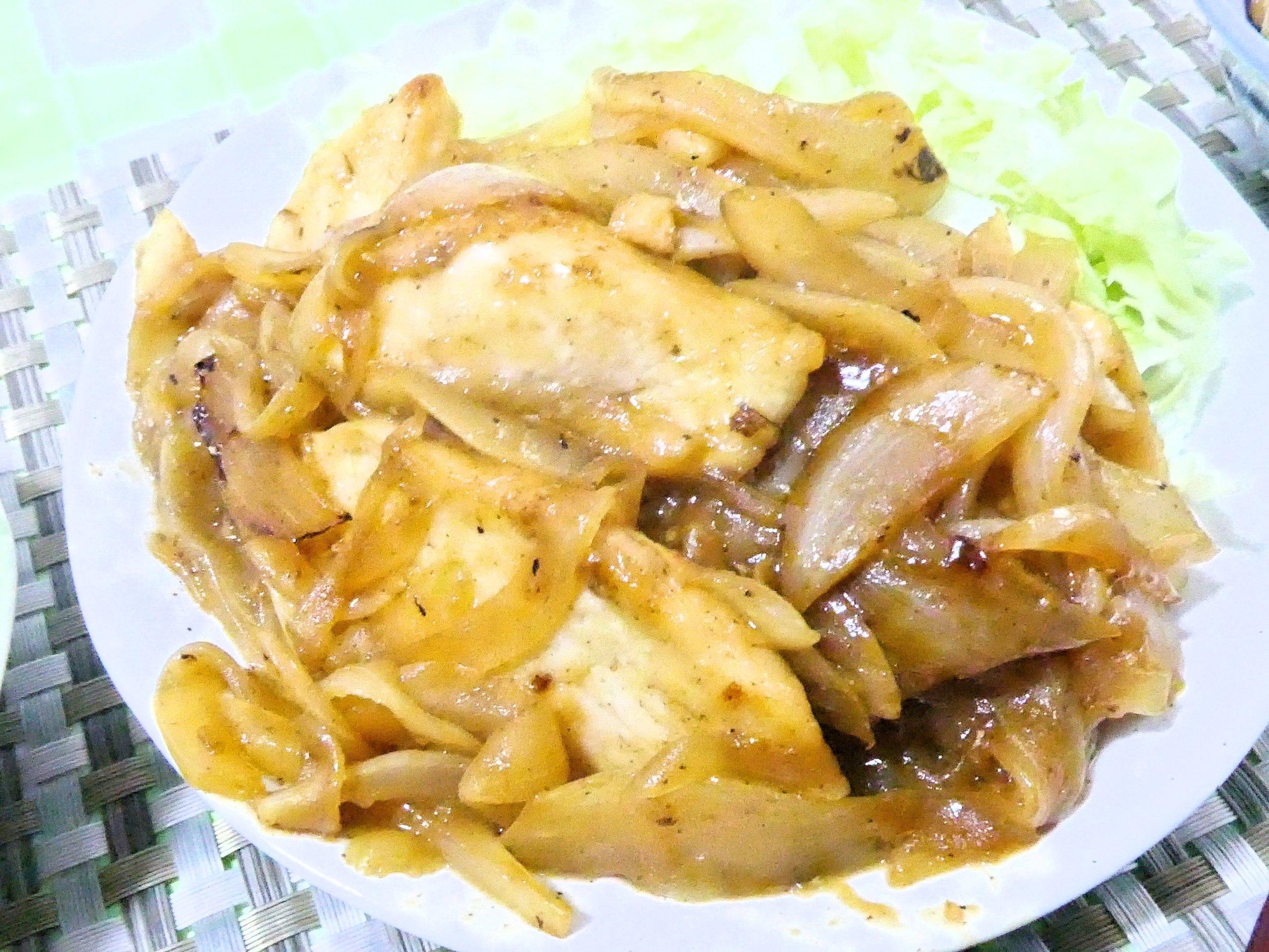 鶏胸肉と玉ねぎの生姜焼き