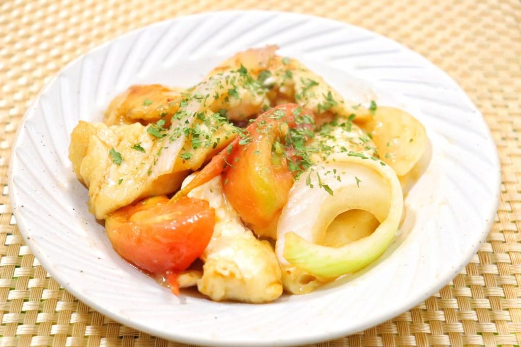 鶏胸肉と玉ねぎのトマト炒め