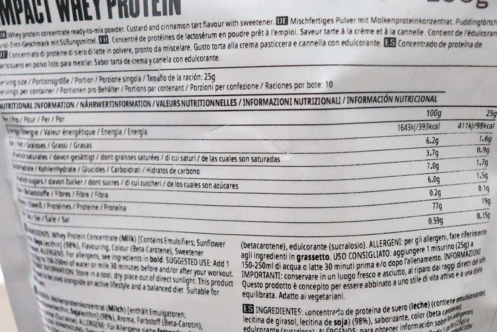 マイプロテイン WPC パステルデナタ風味 - 栄養成分表示