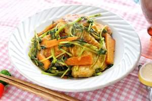 鶏胸肉と豆苗のカレー炒め