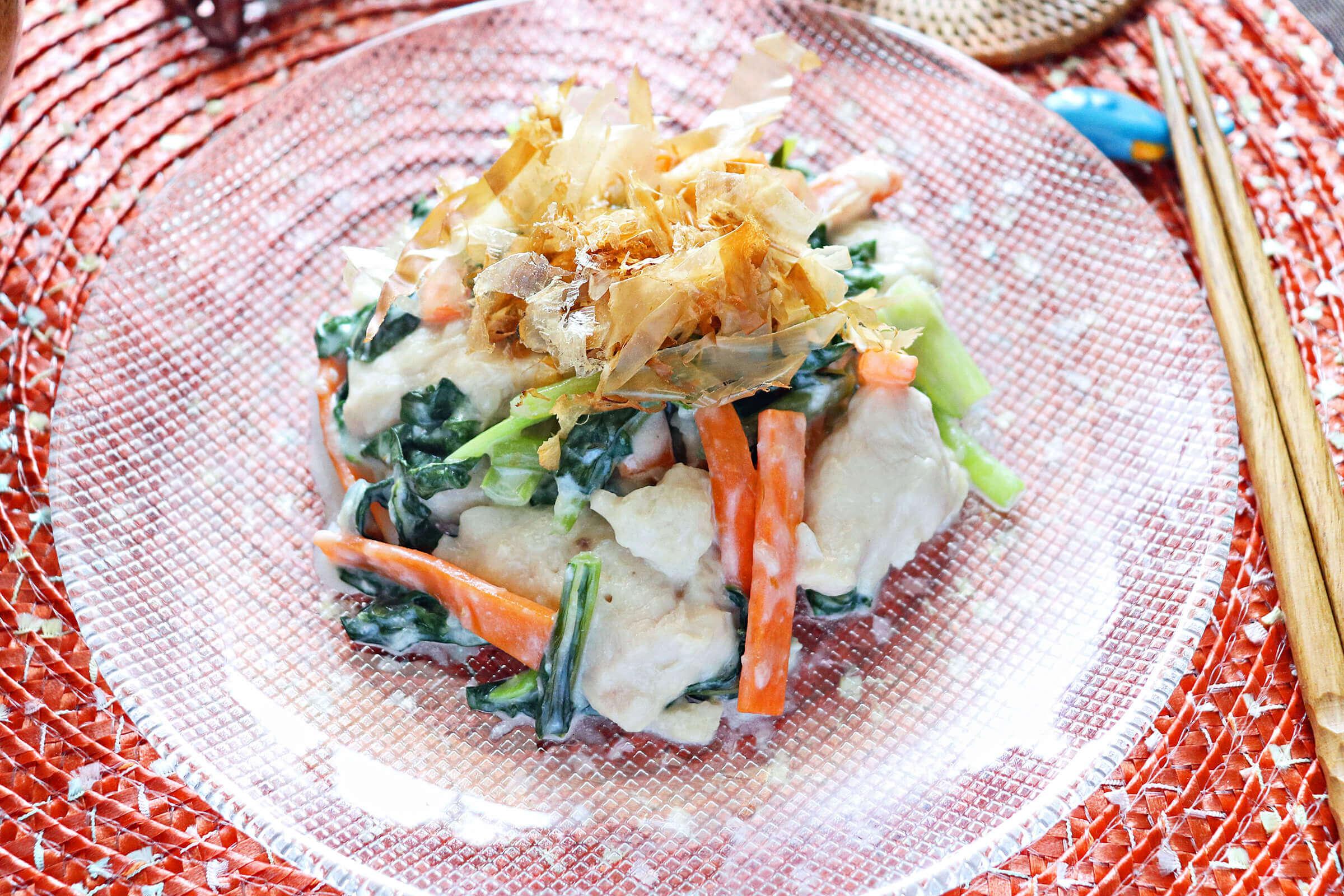 鶏胸肉と小松菜のレンチンからしマヨネーズ和え