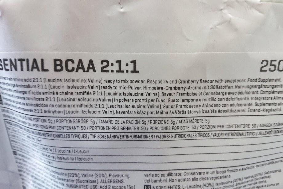 マイプロテイン BCAA ベリーバースト味 栄養成分表示