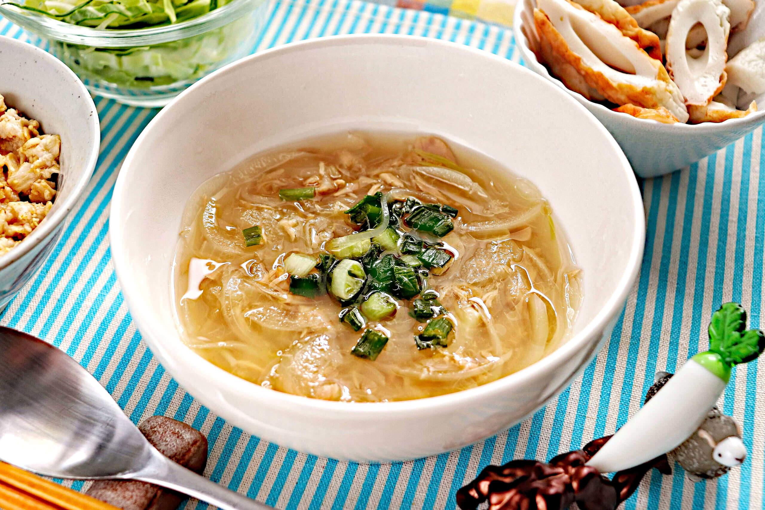 ツナと玉ねぎのめんつゆスープ