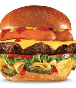 """This undated product image provided by CKE Restaurants shows Carl's Jr. and Hardee's new """"Most American Thickburger."""" A beef patty topped with a split hot dog sits atop a layer of Lay's potato chips between hamburger buns, with ketchup, mustard, tomato, red onion, pickles and American cheese. The burger will have 1,030 calories and 64 grams of fat. (CKE Restaurants via AP)"""