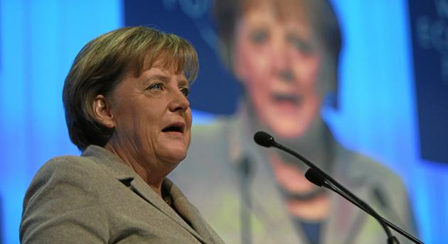 German Chancellor Angela Merkel at the World Economic Forum