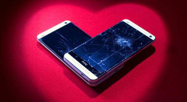 HTC One with a cracked screen