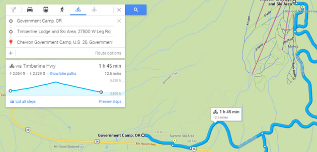 Bike elevation details in Google Maps