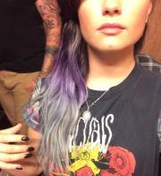 demi lovato dyed hair purple