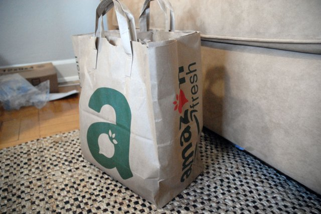 An AmazonFresh delivery bag