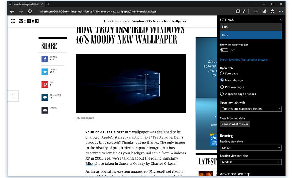 La configurazione di previsione di Windows 10 viene con il bordo e WiFi di Microsoft