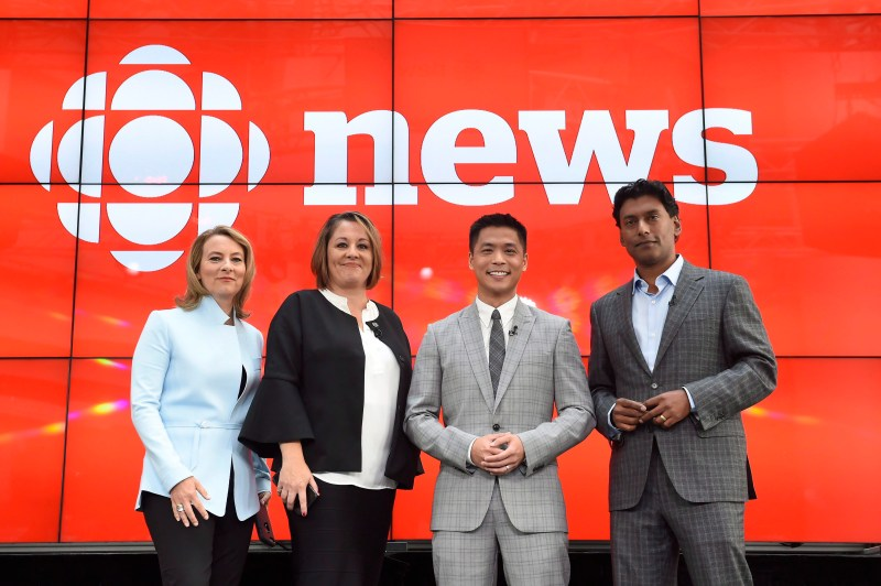 "Adrienne Arsenault, Rosemary Barton, Andrew Chang and Ian Hanomansing (left to right) are named the new hosts of ""The National,"" at a news conference in Toronto, Tuesday, Aug. 1, 2017."
