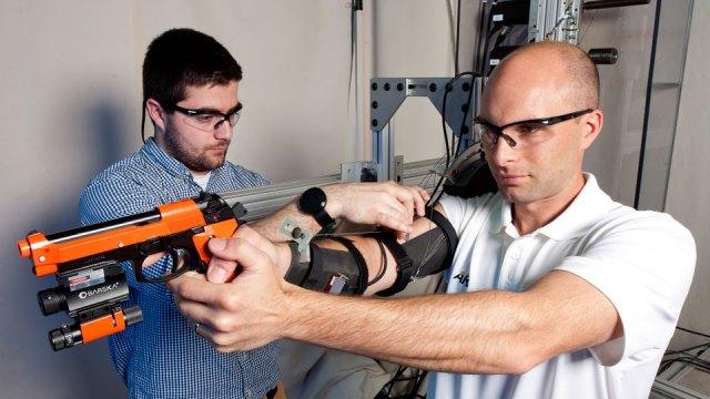 The MAXFAS exoskeleton on a tester's arm