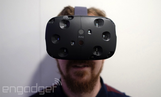 HTC's Vive VR headset on a happy James Trew