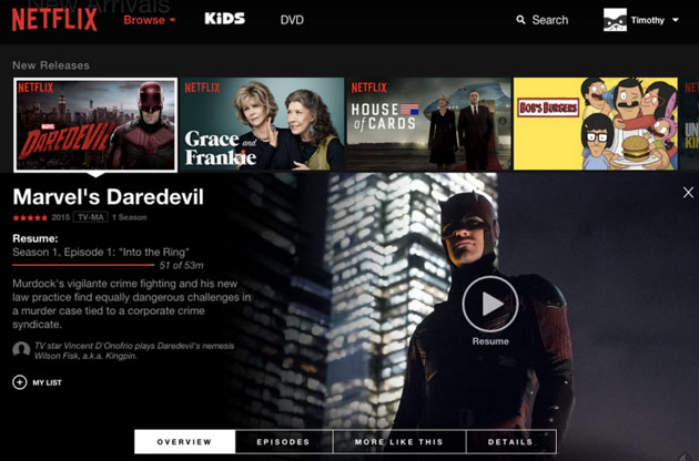 Netflix's new web interface