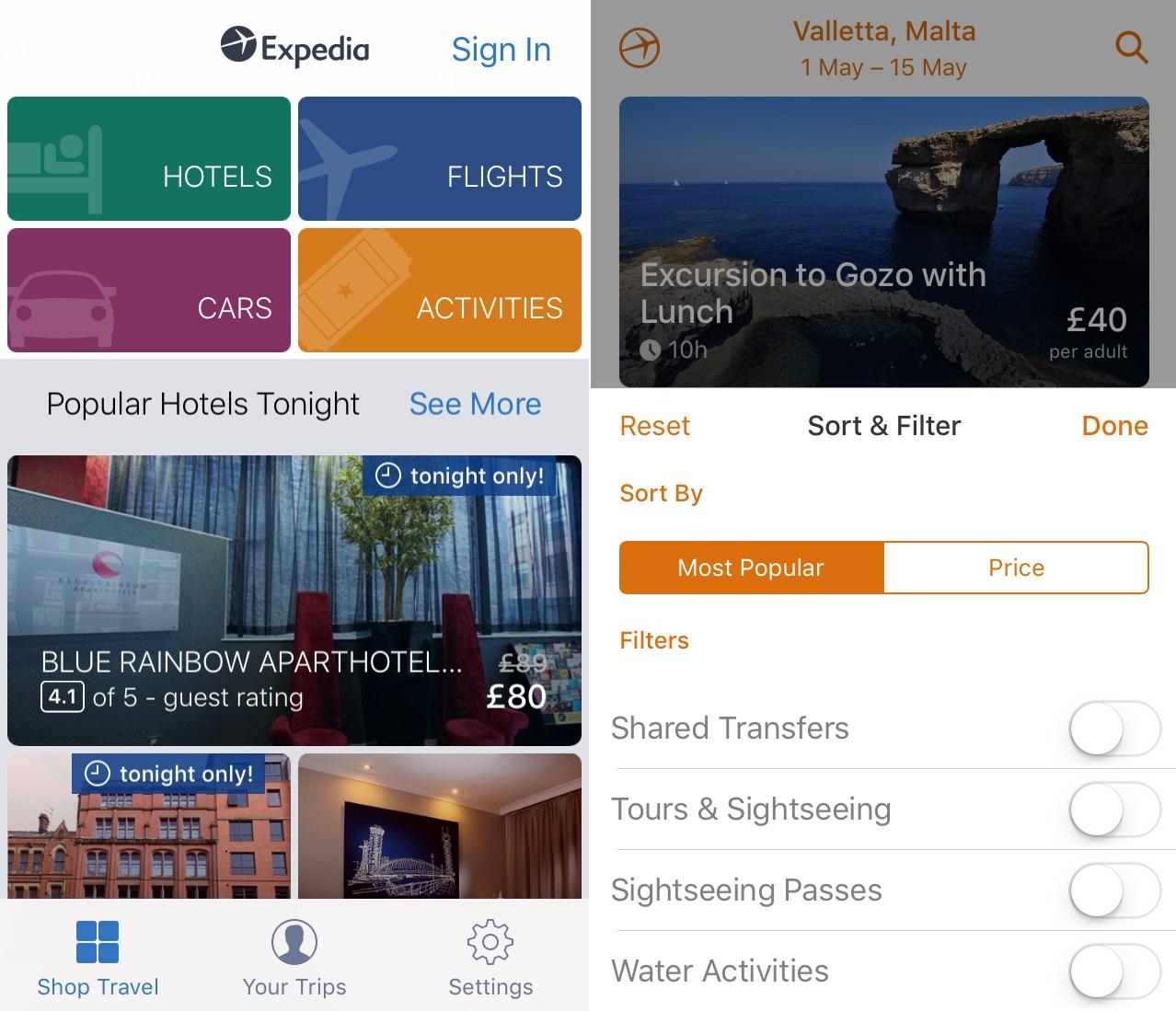 Expedia Travel App