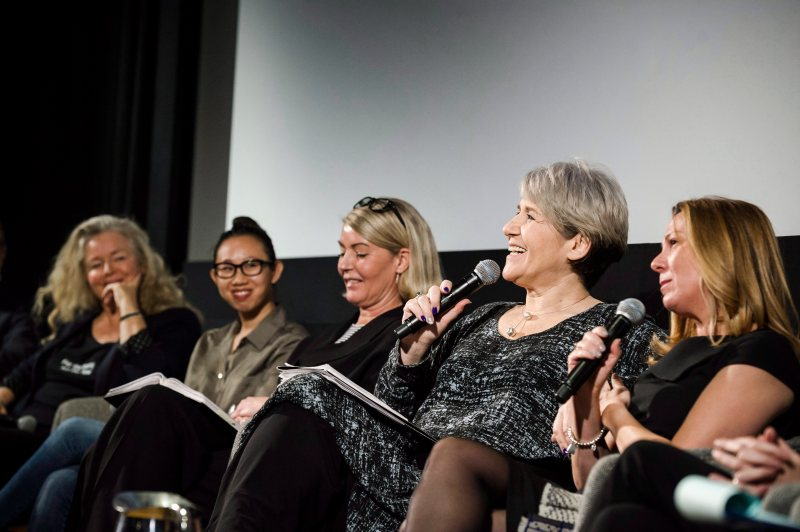 """Theresa Tova, National Treasurer and Toronto President of ACTRA, speaks at an event entitled """"Confronting Sexual Harassment in the Industry"""" at the TIFF Bell Lightbox in Toronto on Dec. 1, 2017."""