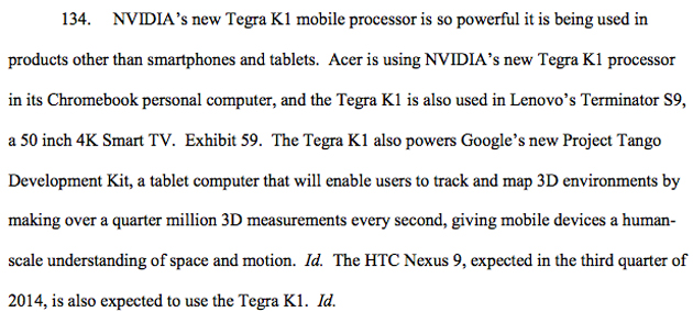 HTC Nexus 9 reference in NVIDIA's lawsuit