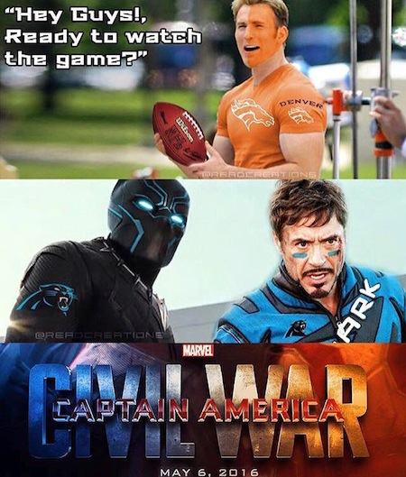 superheroes being super a-holes, superheroes being jerks funny, broncos panthers civil war