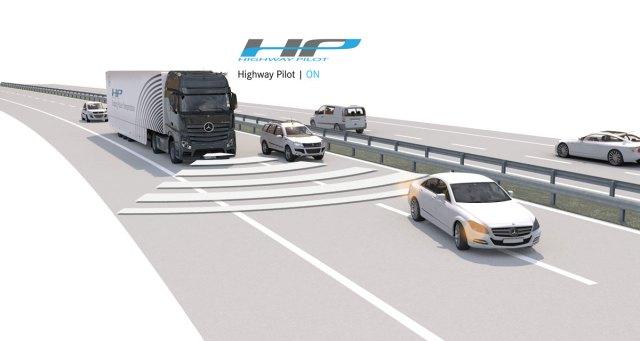 Daimler's semi-autonomous truck on a simulated road