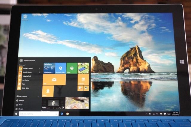 Windows 10 on a Surface Pro 3