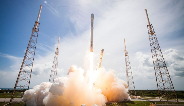 A SpaceX Falcon 9 rocket carries ORBCOMM into orbit
