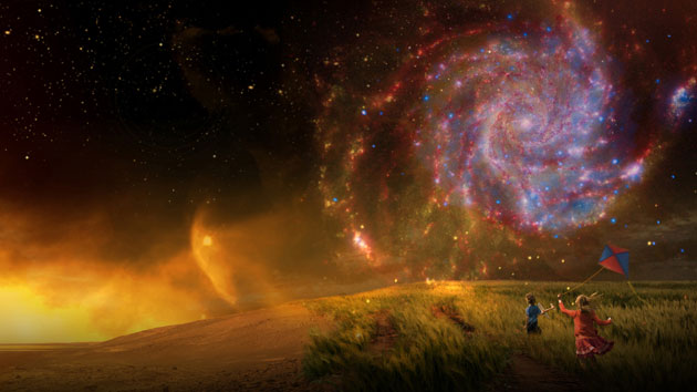 NASA art depicting everything from Earth to a distant galaxy