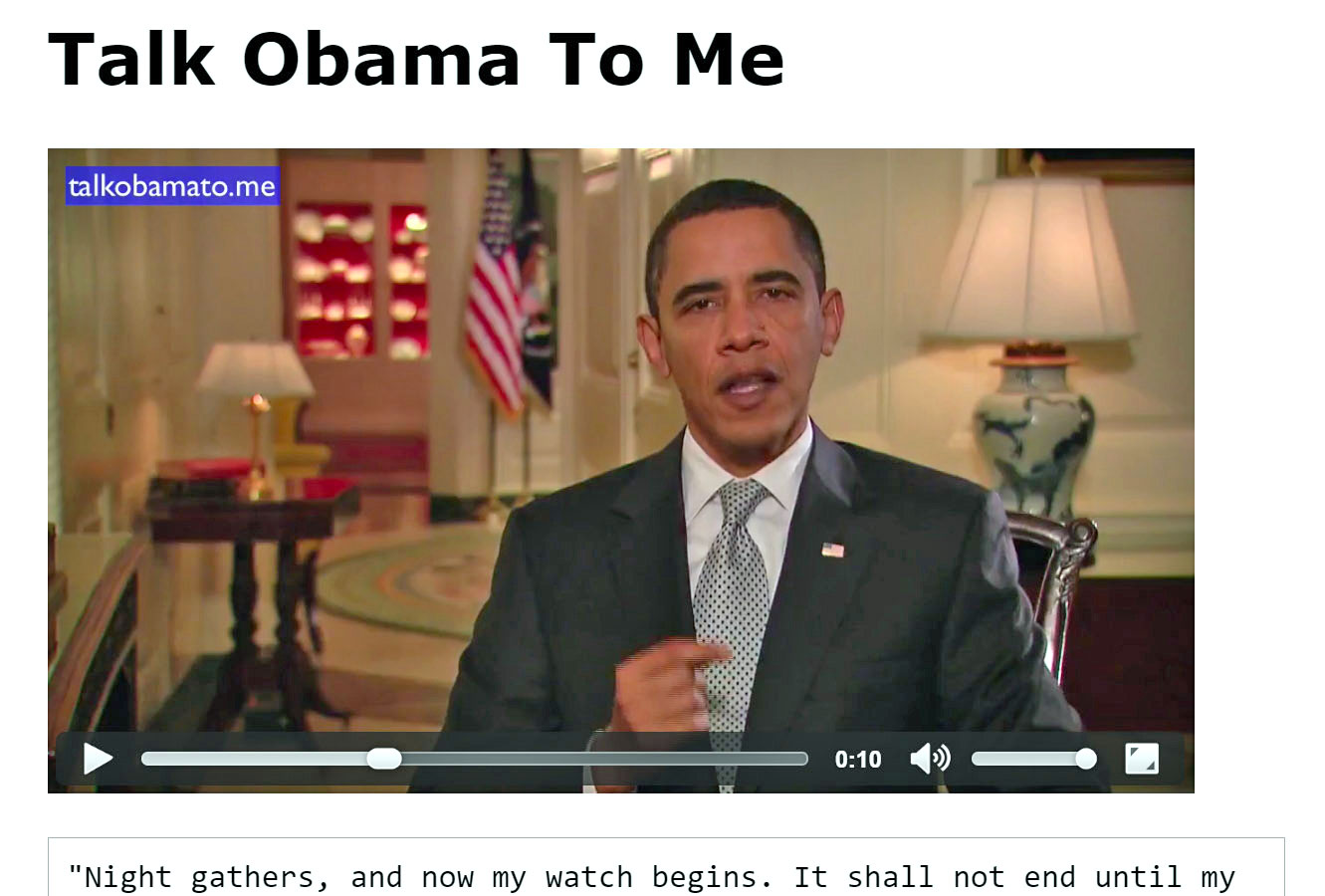 Put words in the Presidents mouth with Talk Obama To Me
