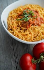 angel hair pasta with bruschetta