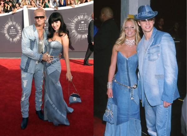 Katy Perry Channels Britney Spears Circa 2001 In Versace Ensemble