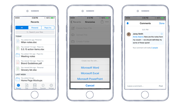 Comments in Dropbox for iOS
