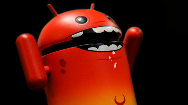 A red Android mascot