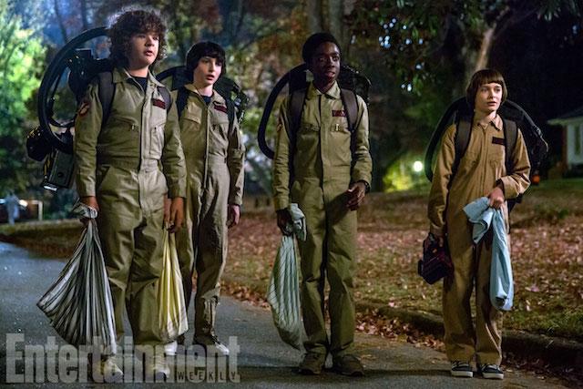 Stranger Things (2017)Season 2, Episode TKLeft to right, Gaten Matarazzo as Dustin Henderson, Finn Wolfhard as Mike Wheeler, Caleb McLaughlin as Lucas Sinclair, Noah Schnapp as Will Byers