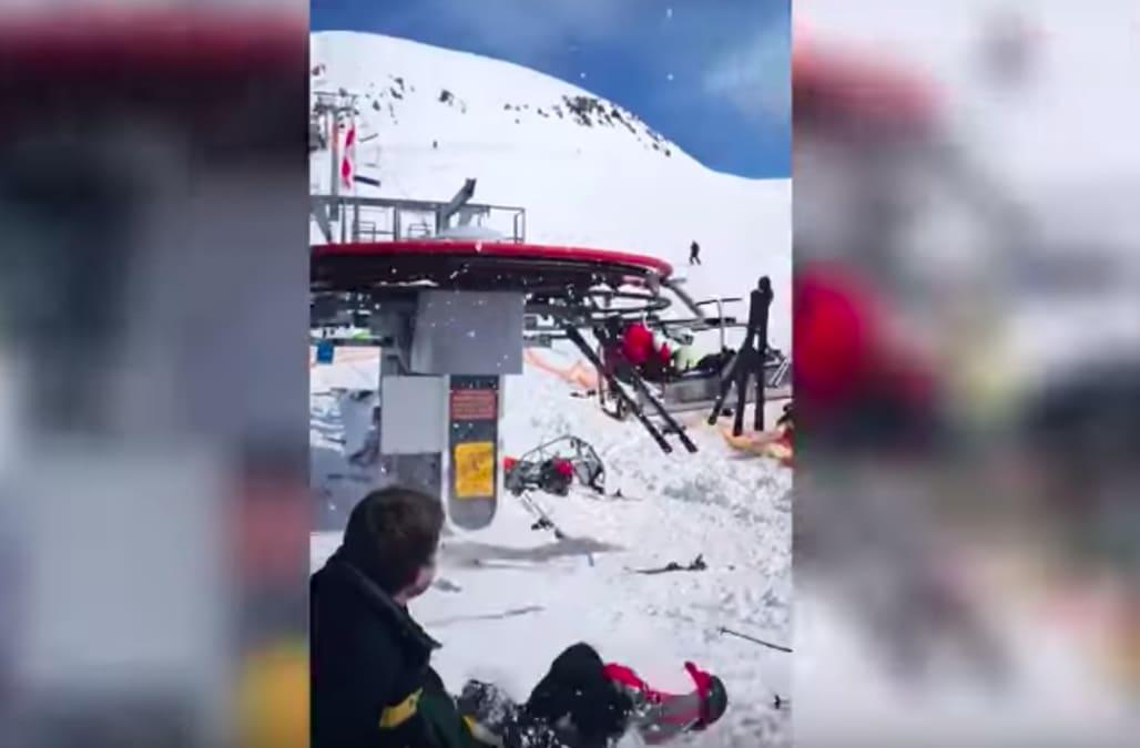 ski chair lift malfunction adjustable height kids malfunctioning in georgia flings off tourists horrifying viral video