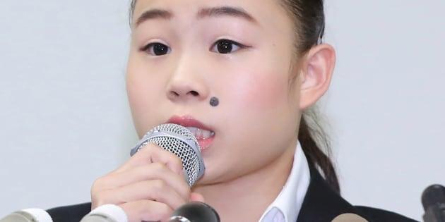 記者会見する体操女子の宮川紗江選手=8月29日、東京・霞が関の弁護士会館
