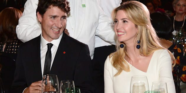 Prime Minister Justin Trudeau and wife Sophie Gregoire Trudeau converse with guests, including Ivanka Trump during the Fortune Most Powerful Women Summit and Gala in Washington, D.C., on Oct. 10, 2017.