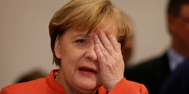 Angela Merkel, canciller alemana, tras una asamblea del conjunto parlamentario de la CDU/CSU en Berlin, Alemania. REUTERS/Axel Schmidt