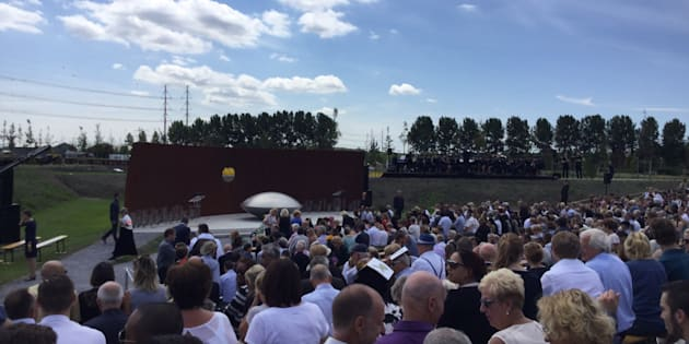 About 2,000 relatives of the victims of MH17 gathered near Amsterdam Airport on July 17, 2017 to remember the 298 passengers and crew who died. The third anniversary of the crash also marked the unveiling of a huge memorial park, where a tree has been planted for each of the victims.