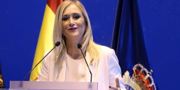 La presidente de la Comunidad de Madrid, Cristina Cifuentes, en los actos de fiesta de los Beatos Ángeles Custodios, Día de la Policía Nacional, ayer en la capital española.