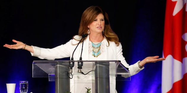 Conservative leader Rona Ambrose addresses supporters at the Calgary Stampede BBQ in Calgary on July 9, 2016.