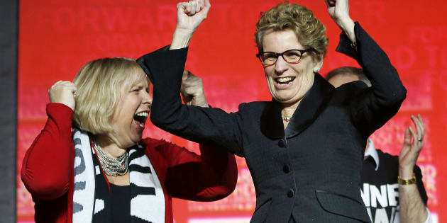 Kathleen Wynne cheers with Deb Matthews at the Ontario Liberal leadership convention in Toronto on Jan. 26, 2013.