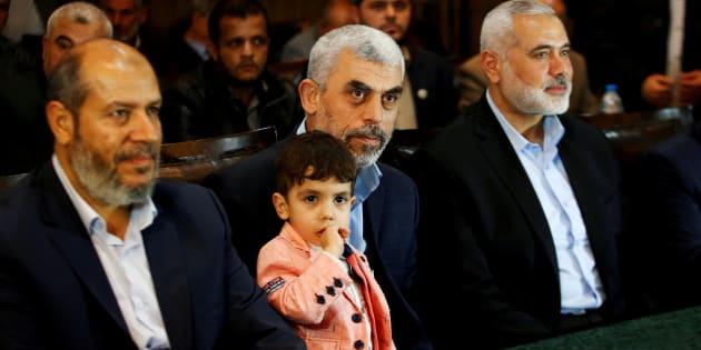 Los primordiales mandos de Hamás, fotografiados en mayo en Gaza al presentar su inédita hoja de senda política.