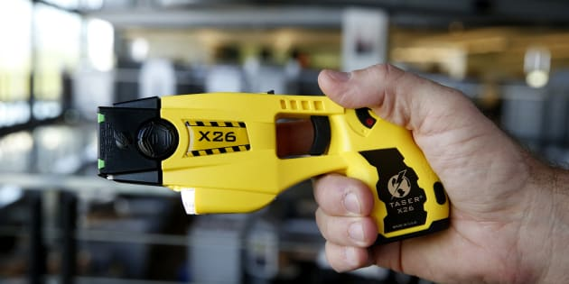The Taser X26 electronic weapon at the Taser International Inc. manufacturing facility in Scottsdale, Ariz., Wed. April 22, 2015. The maker of Tasers says at least 15 people caught fire and five died after being shocked near flammable materials.