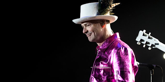 Tragically Hip lead singer Gord Downie performs with band members Paul Langlois, Gord Sinclair, Johnny Fay and Rob Baker in Victoria, B.C., July 22, 2016.