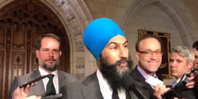 NDP Leader Jagmeet Singh speaks to reporters in the foyer of the House of Commons.
