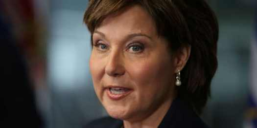 British Columbia's Premier Christy Clark speaks to the media in Vancouver on May 30, 2017.