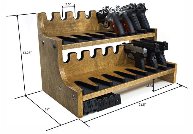 16 gun pistol rack w magazine storage