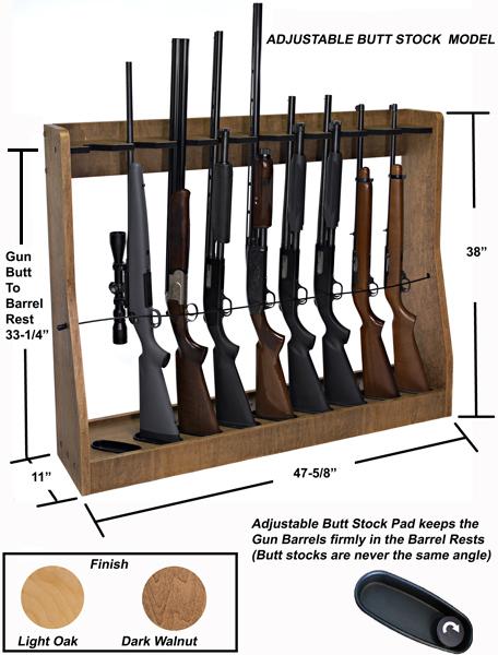 9 gun adjustable vertical gun rack floor stand or wall mount