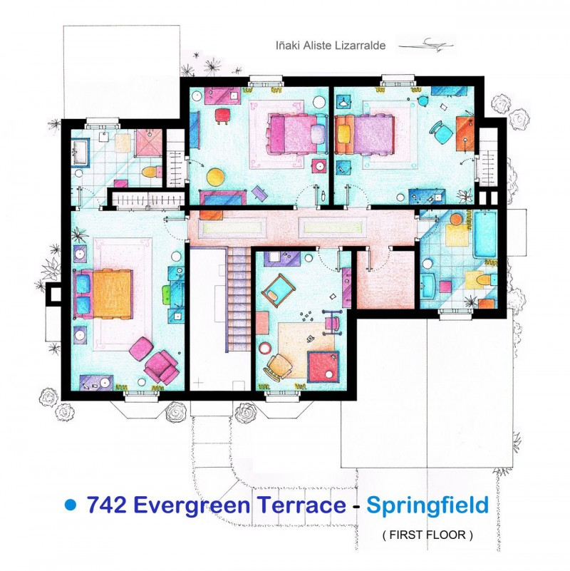 Lucy and ricky ricardo realtor rosemary for Simpsons house floor plan